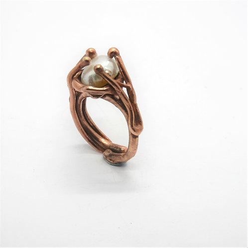 FLYING STONES - anello bronzo rosso, perla