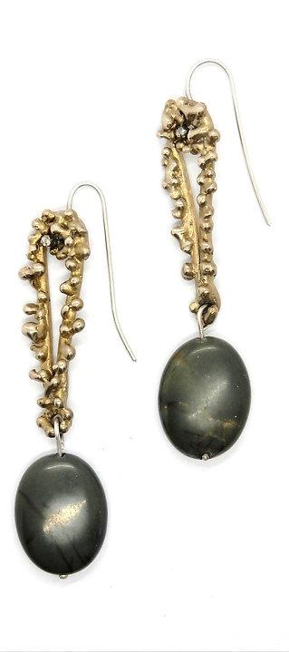FLYING STONES - orecchini bronzo oro, diaspro
