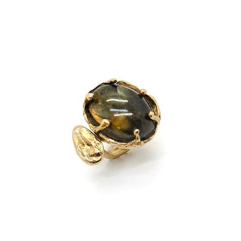 FLYING STONES - gold bronze, labradorite ring