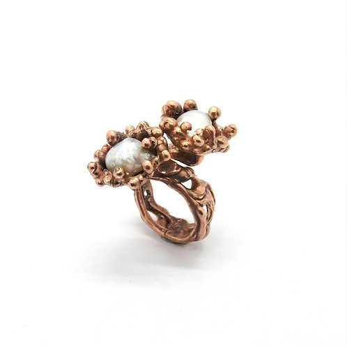 FLYING STONES - anello bronzo rosso, perle