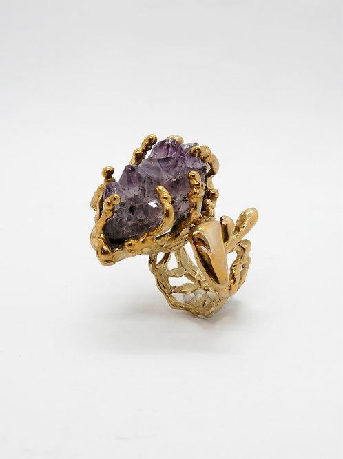 FLYING STONES - anello bronzo oro, drusa ametista