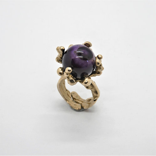 FLYING STONES - gold bronze ring, agate