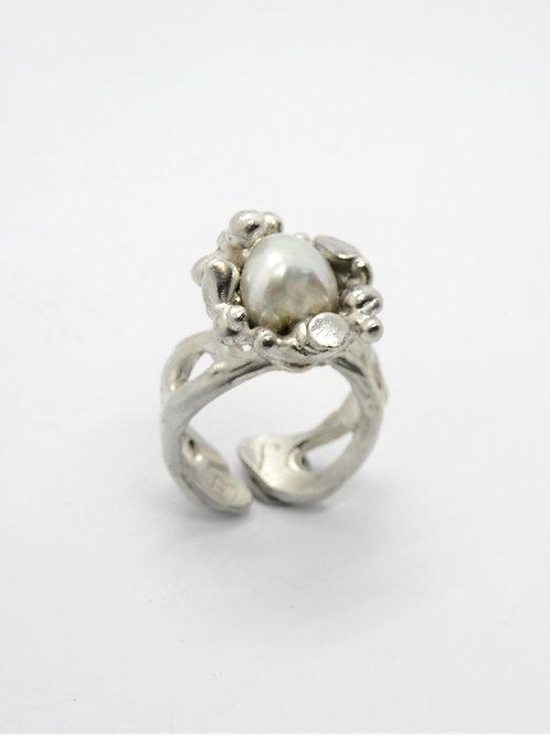 FLYING STONES - anello argento, perla