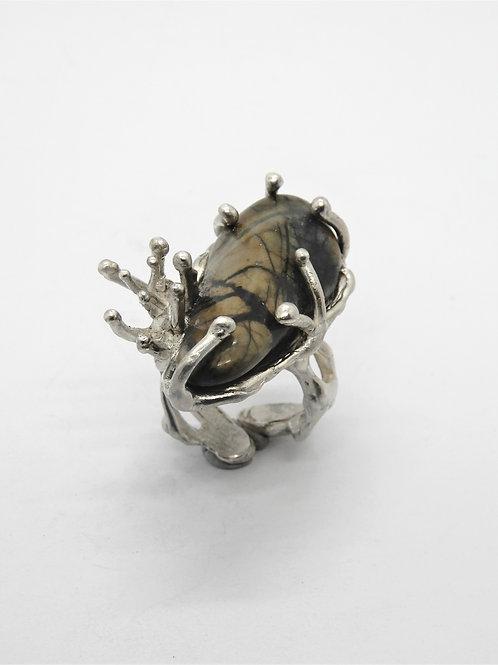 "FLYING STONES - anello argento, diaspro ""Picasso"""