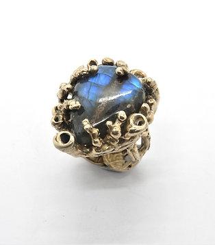 FLYING STONES - anello bronzo oro, labradorite