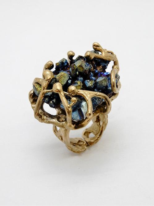 FLYING STONES - anello bronzo oro, quarzo aura