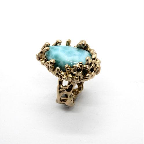 FLYING STONES - anello bronzo oro, Larimar