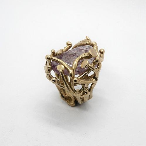 FLYING STONES - anello bronzo oro, ametista