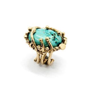 FLYING STONES - anello bronzo oro, crisocolla