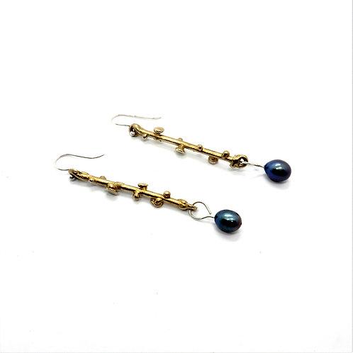 FLYING STONES - orecchini bronzo oro, perle
