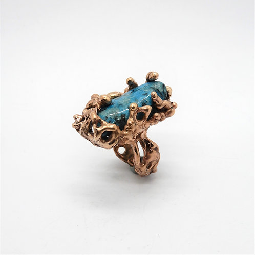 FLYING STONES - anello bronzo rosso, turchese