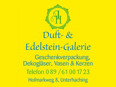 """""""WIR HABEN GEÖFFNET! Nutzen Sie jetzt unsere Rabattkarte"""" Duft & Edelsteine Galerie."""