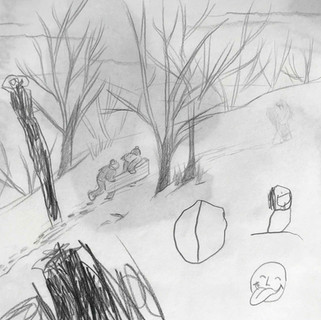 Collaborative snowy sketch with kids