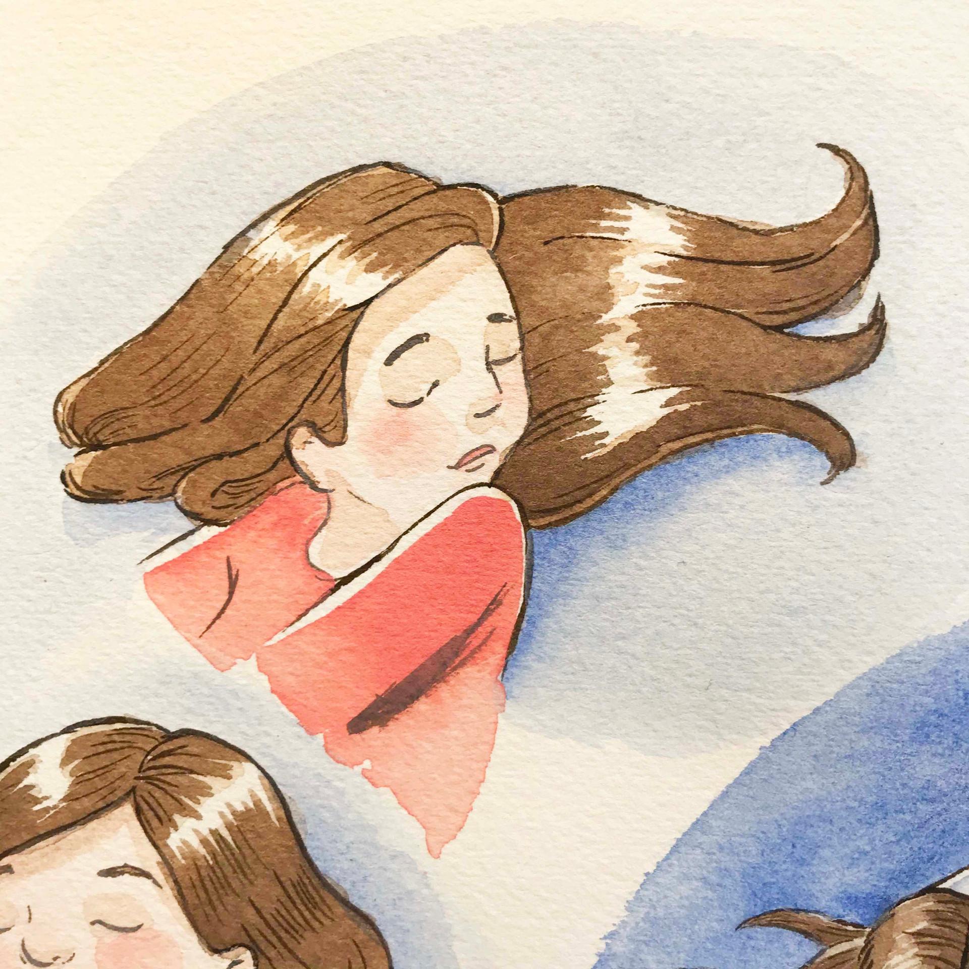 Sleeping lass red (ink & watercolor)