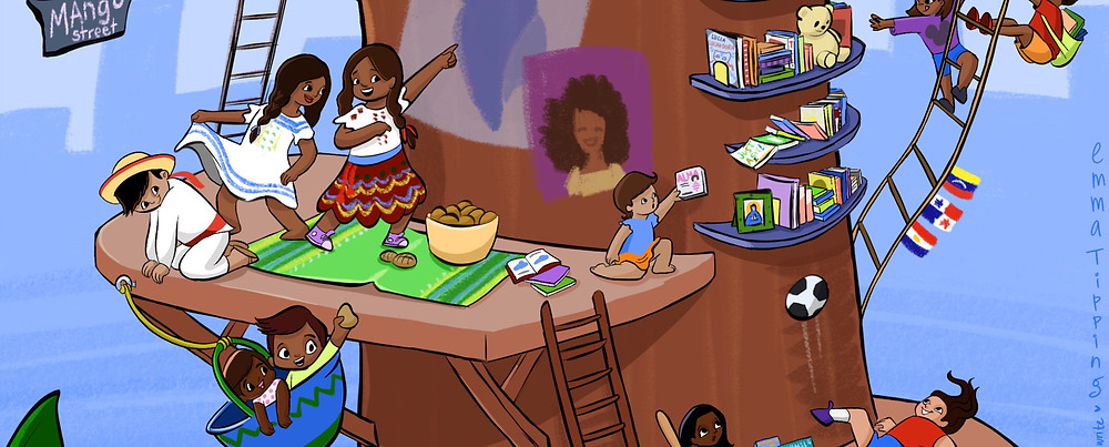 An illustration of children from Hispanic countries enjoying Hispanic literature together, tranditional Hispanic games and delicious food, all in celebration of Hispanic Heritage Month!