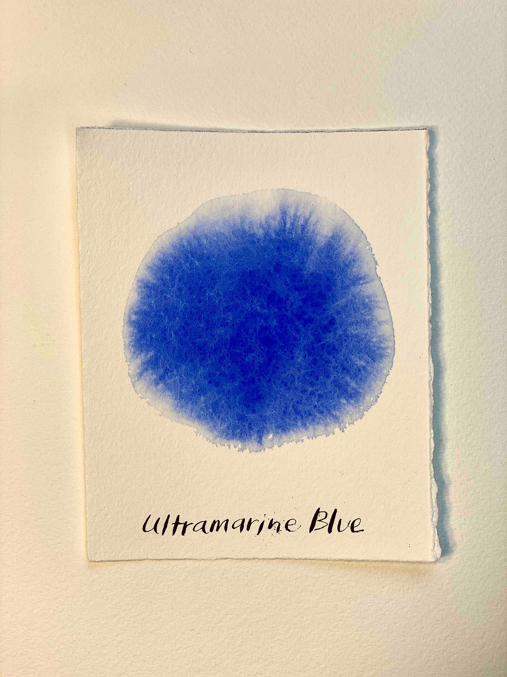 Color swatch of Ultramarine Blue watercolor paint