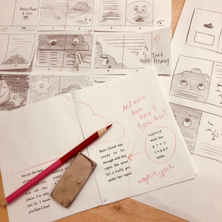 "Page Layouts for ""Plucky Little Rain Cloud"""