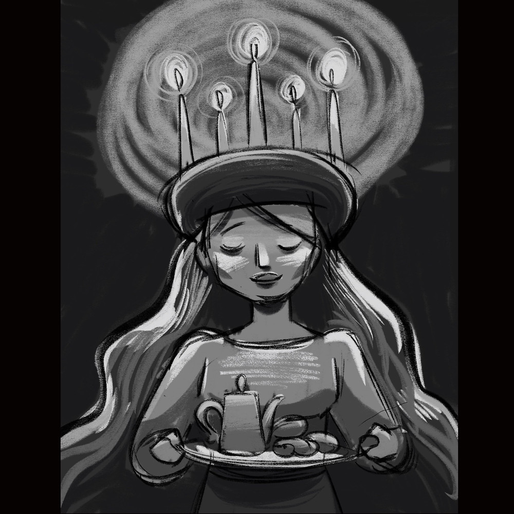 """Greyscale value study of for illustration """"The Feast of Saint Lucy"""" by children's book author and illustrator, Emma Tipping"""