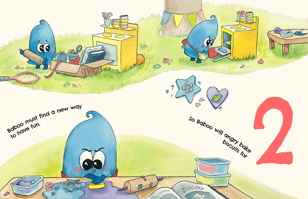 In this sample illustration for children's book, Baboo Angry Bakes, Baboo is making playdough biscuits.