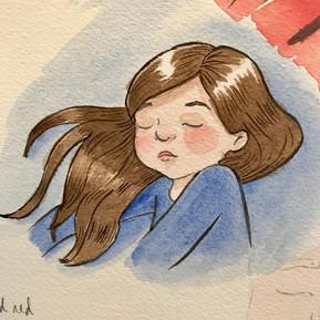 Sleeping lass blue