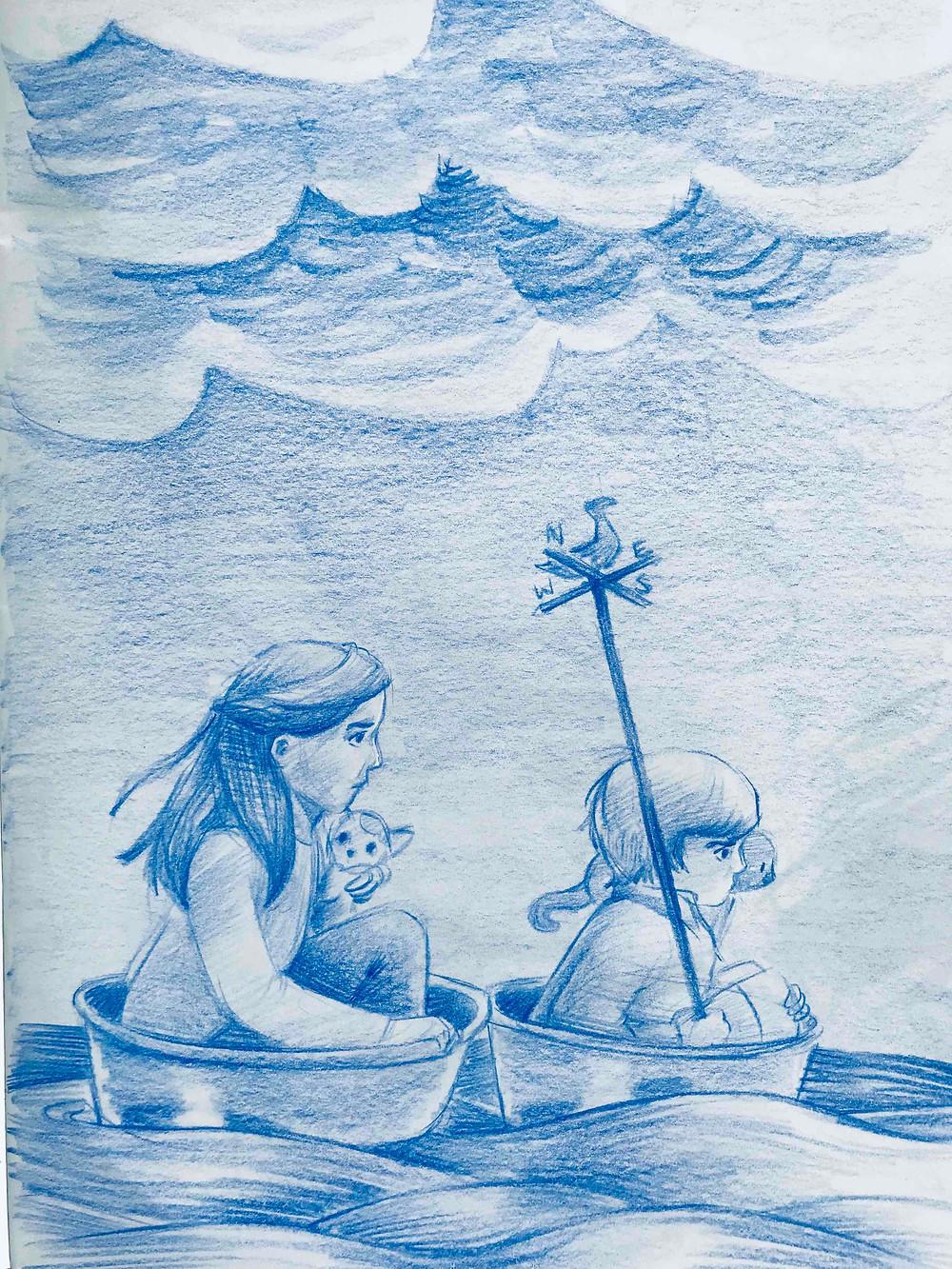 Sketch of two children riding in barrels in the ocean