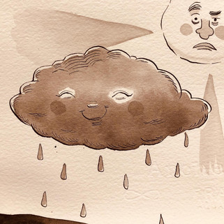 "Sample sketches for ""The Plucky Little Rain Cloud"""