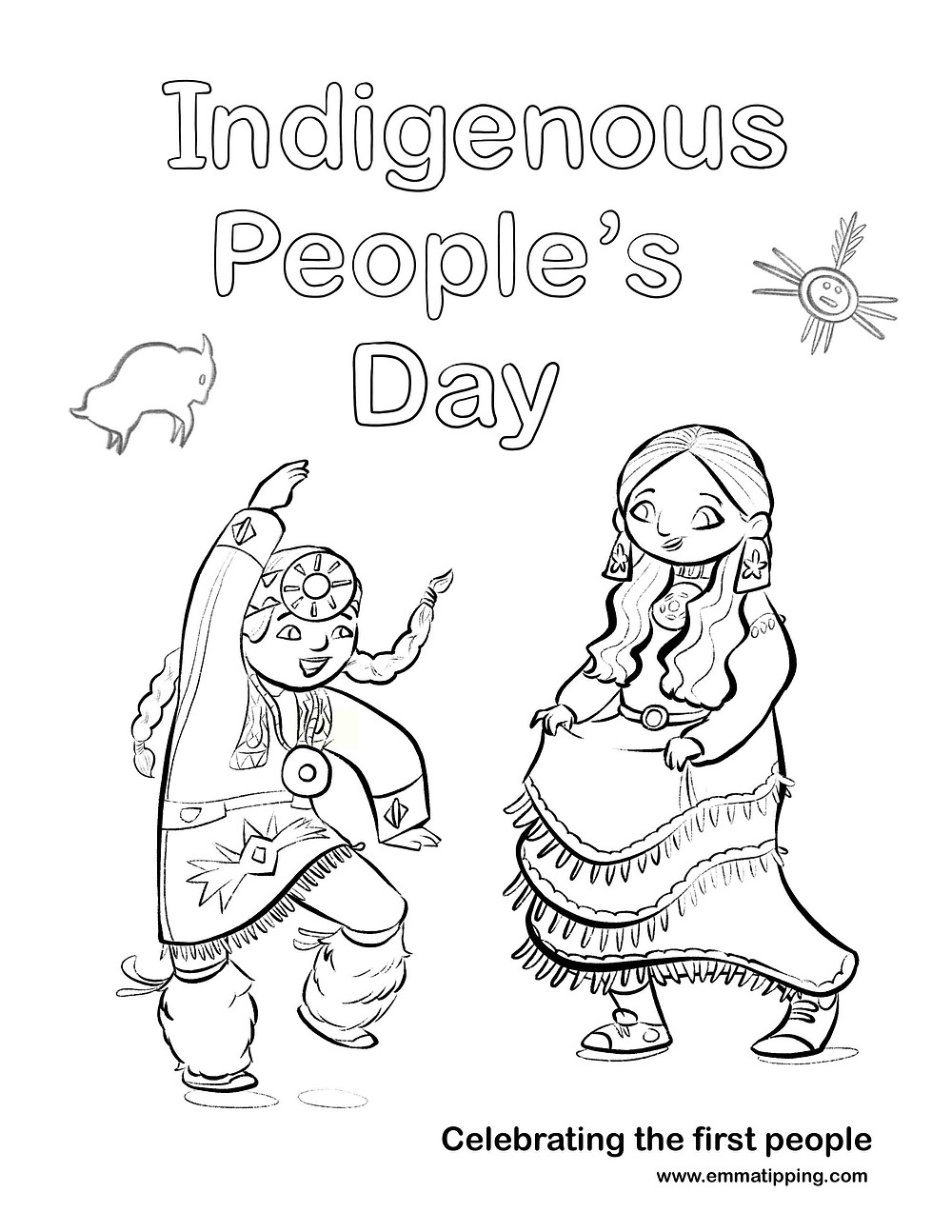 I created a FREE coloring page to help families and educators celebrate Indigenous Peoples' Day with the children in their lives.