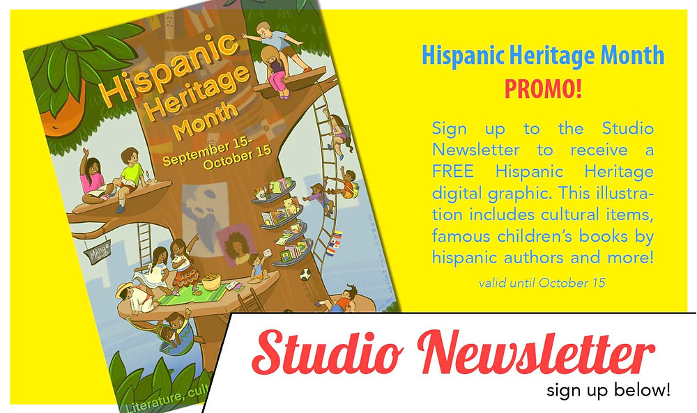 A slider from www.emmatipping.com promting visitors to sign up for Emma's Studio Newsletter and get a FREE Hispanic Heritage Month illustration.
