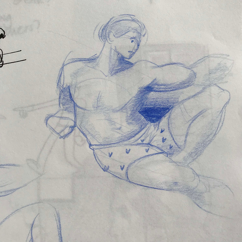 """Spoof on Michelangelo's """"Creation of Adam"""" with Adam wearing boxer shorts."""