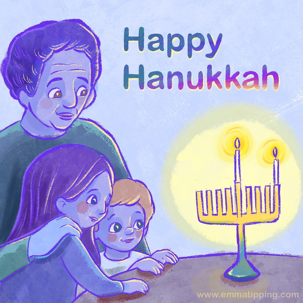 """Digital illustration called """"Happy Hanukkah"""" of a grandfather and his grandchildren around the first candle of Hanukkah"""