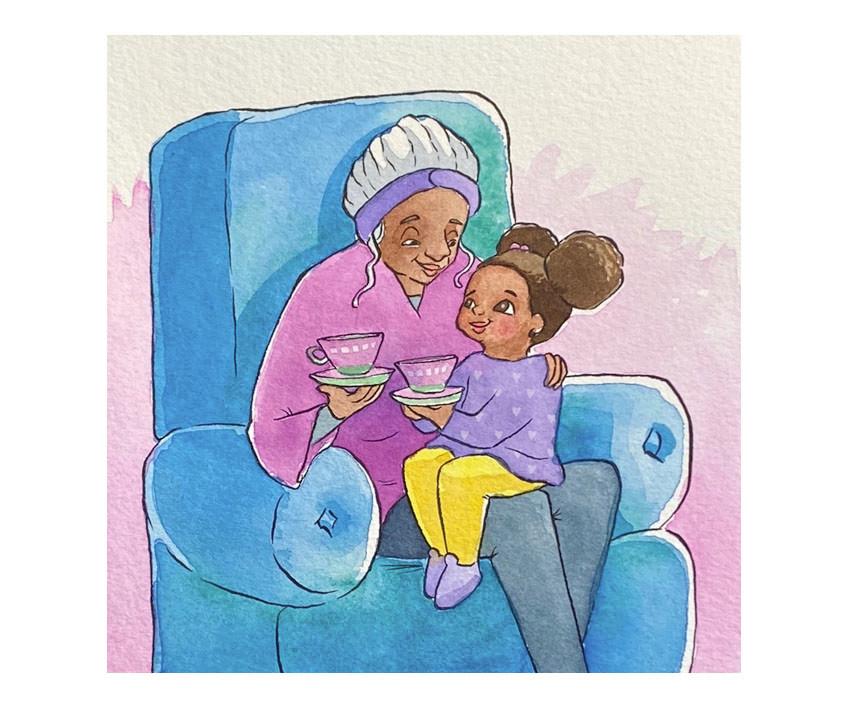 Diamond and Grandma snuggle