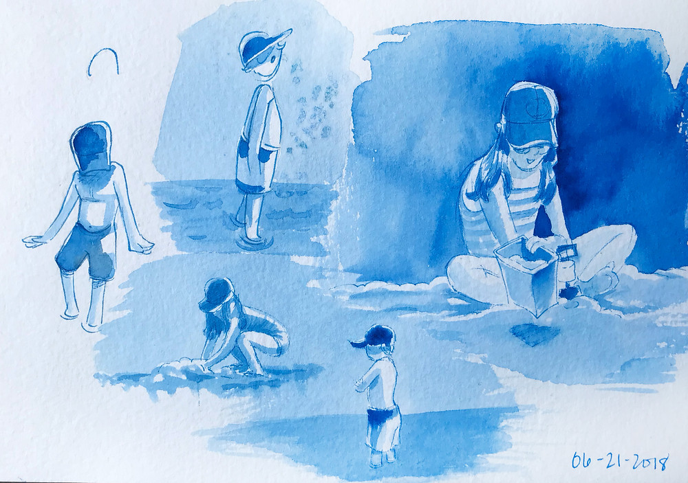 Sketchbook gesture paintings of children at the beach, painted in bright blue or phthalo blue watercolor.