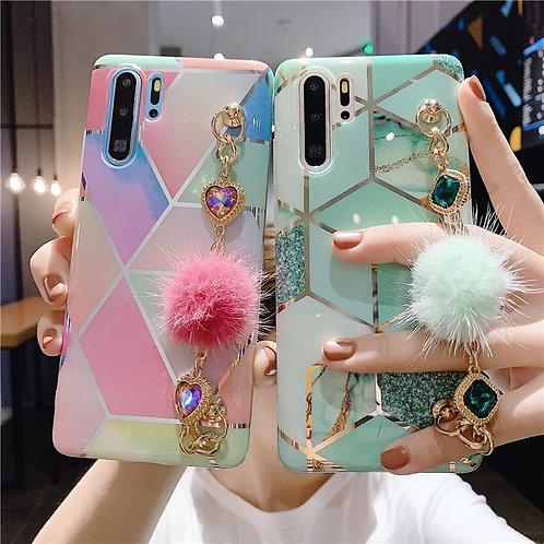Luxury Marble Hair Ball Bracelet Soft Silicone Phone Case
