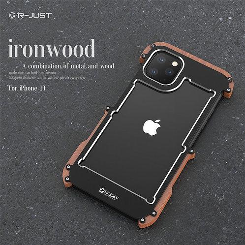 R-Just Wood Bumper Metal Phone Case