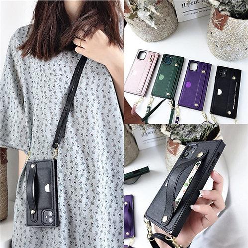 Wallet Card Shoulder Strap Belt Wristband Holder Leather Phone Case