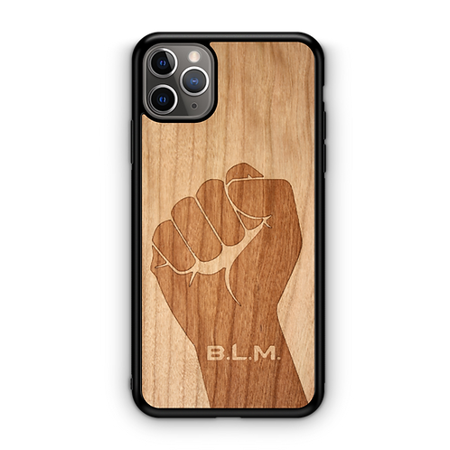 Wooden Phone Case | Black Lives Matter - Fist BLM in American Cherry