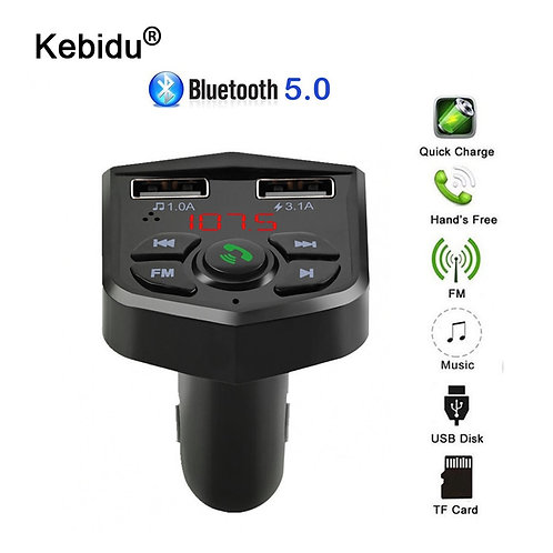 FM Transmitter Aux  Bluetooth 5.0 Handsfree Car Audio MP3 Player 2 slot
