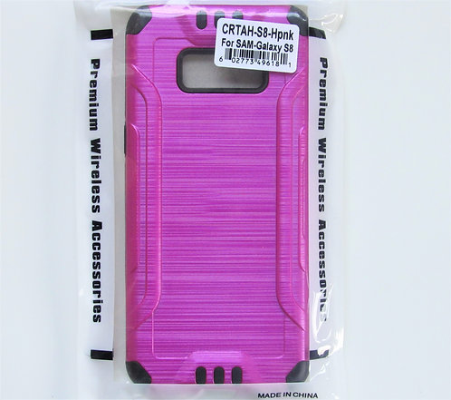 Slim Armor Brushed Metal Design Hybrid (Hot Pink ) Samsung 8