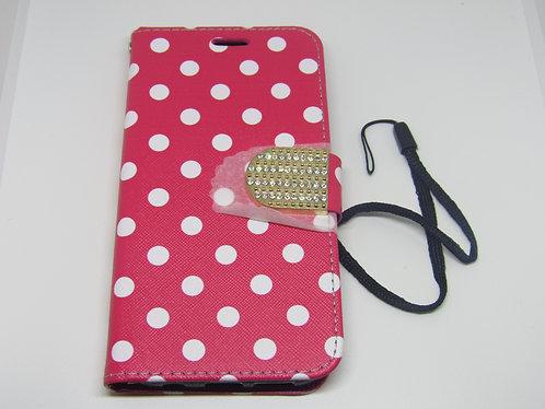 Hot Pink Polka Dot Wallet Case