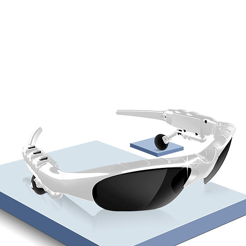 Foldable Bluetooth Glasses  Earbuds Music With Stereo Colors Black/White