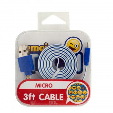 Emoji MicroUsb Charger 3ft cable