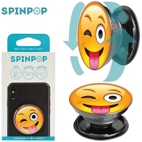 Spin Pop Wink Smiley Face pop-up phone holder