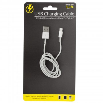 3.2 Ft 8 pin charging cable (White)