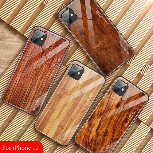 Wood Grain Case for iPhone Edge Bumper Phone Shell