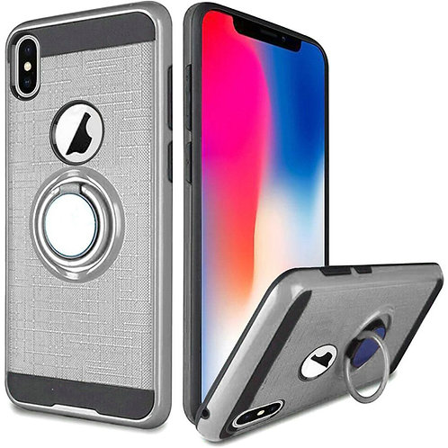 Tech 360 rotating ring Hybrid Case (Silver)Fits Iphone X