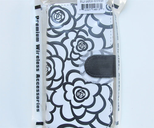 Textured Rose Wallet Black/White Rose Samsung 6