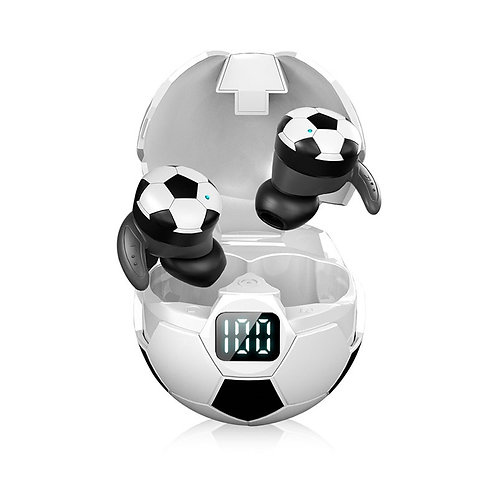 Soccer Themed Wireless Earbuds Hifi Power Display