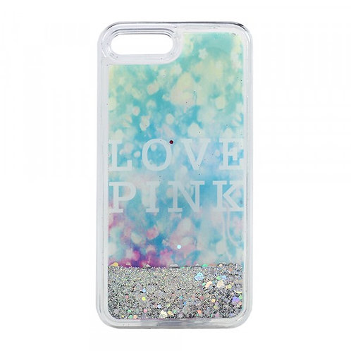Glitter Quicksand Case  Love Pink(Silver)