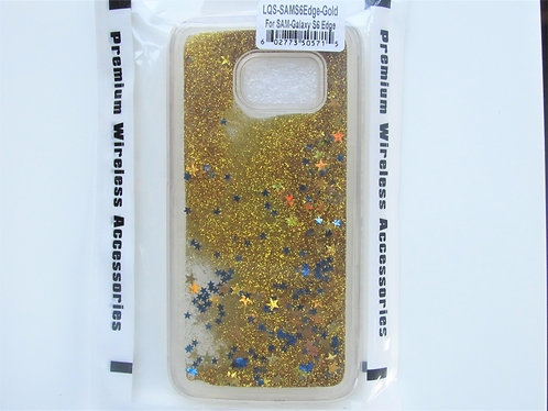Liquid Quicksand with Star glitter Samsung 6 Edge Gold
