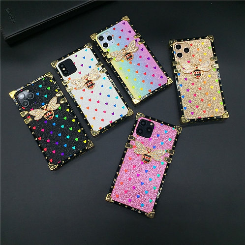 Luxury Case for iPhone Fashion Heart Glitter Bee Cover Phone Cases for Iphone